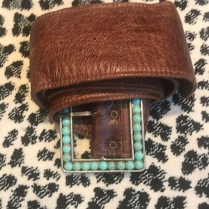 Gorgeous Turquoise wide belt on brown soft leather